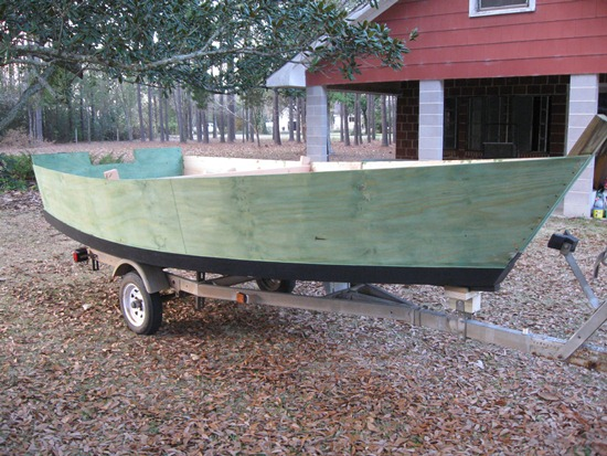 skiff on the trailer