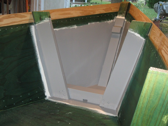 bow enclosure - first coat of paint