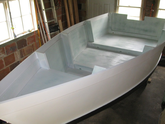 interior of the skiff primed