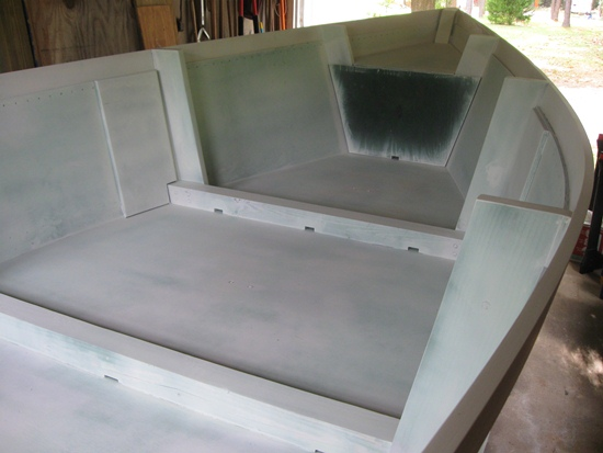 interior of skiff primed - looking forward